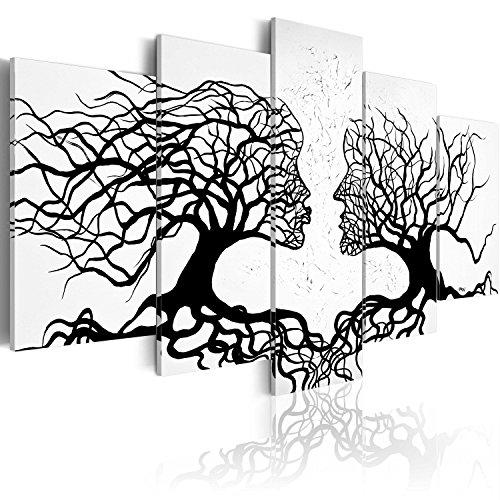 murando - Cuadro en Lienzo 100x50 Impresion de 5 Piezas Material Tejido no Tejido Impresion Artistica Imagen Grafica Decoracion de Pared Abstracto Personas Arbol Blanco Negro a-A-0104-b-m