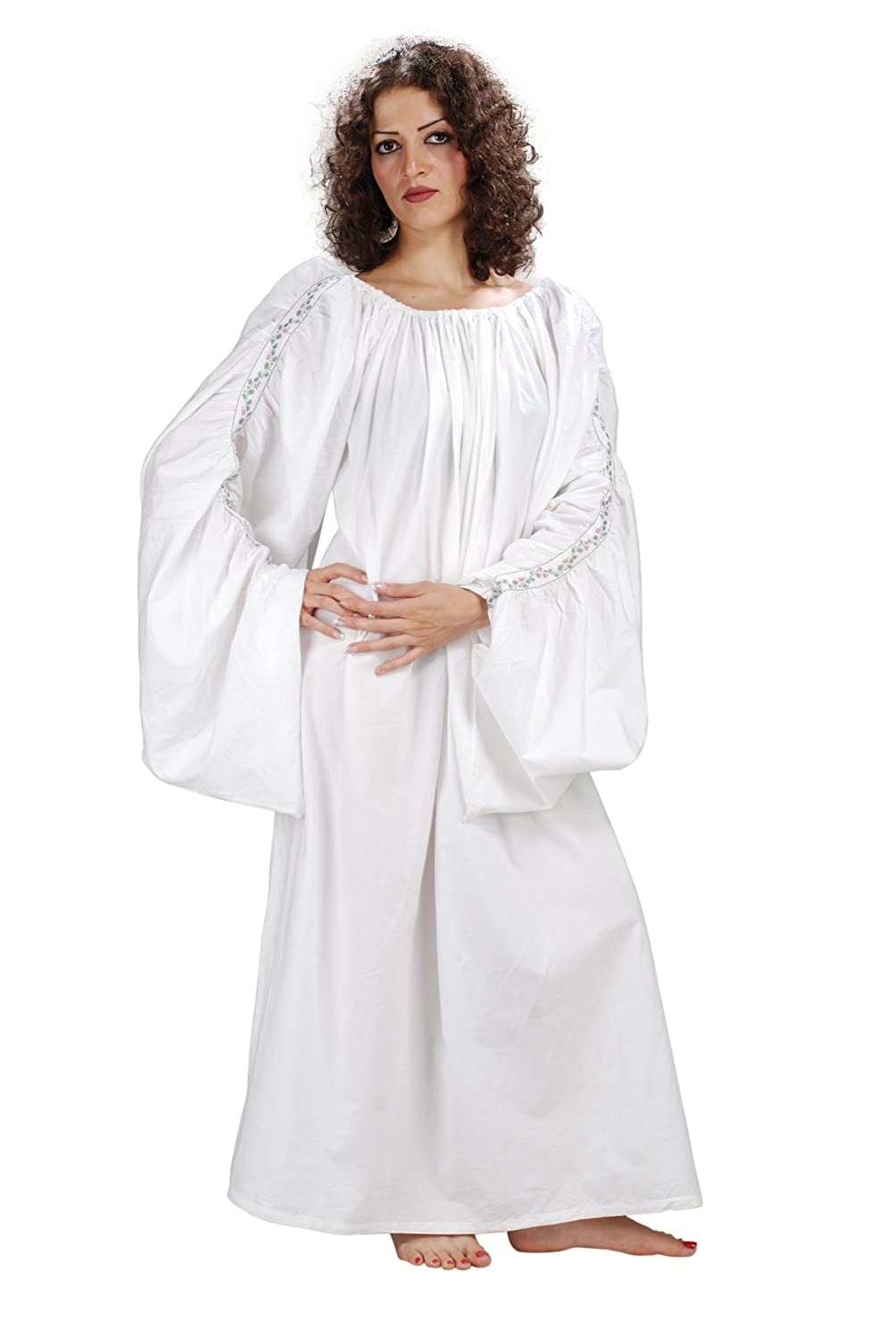 Celtic Decorated Trim Long White Chemise (One Size) - DeluxeAdultCostumes.com
