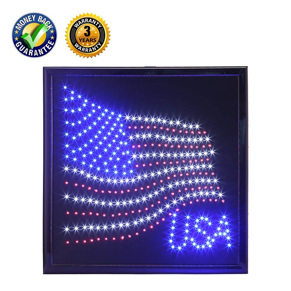 anrookie LED American Flag Sign, (19x19inch 110v On/Off withChain) American Flag LED Lighted Sign Animated Mode,for Walls, Window, Shop,Party,Grand Festival ...
