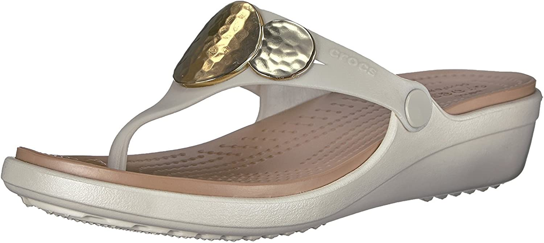 Details about  /Crocs Womens Sanrah Beveled Flat Flip Sandal Shoes Size 7 Black
