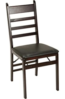 Cosco 2 Pack Wood Folding Chair With Vinyl Seat And Ladder Back, Espresso