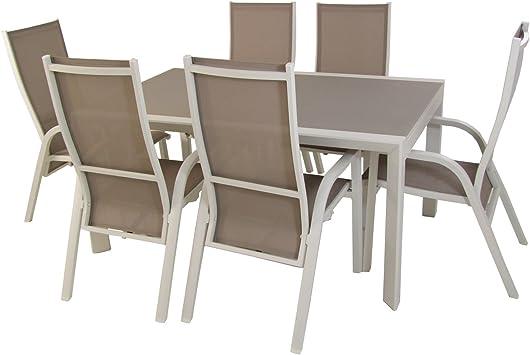 Conjunto de jardín, Mesa Extensible 160/210 cm y 6 sillones reclinables, Aluminio Blanco, Textilene Taupé, Cristal Mate, Templado y Grueso Color taupé: Amazon.es: Jardín