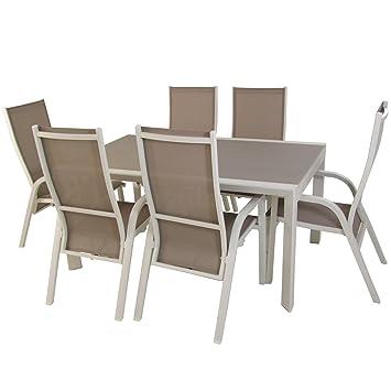 Conjunto de jardín, Mesa Extensible 160/210 cm y 6 sillones ...