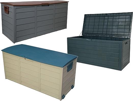 Caja de almacenamiento para cojines, sólida y resistente al agua, para exterior y jardín: Amazon.es: Jardín