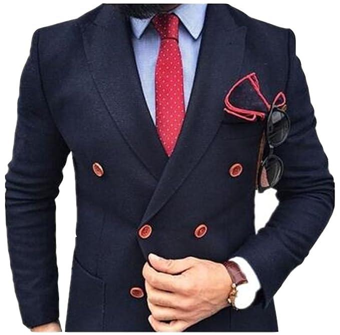 Amazon.com: Lucky Lover Azul Marino Doble Breasted trajes 2 ...