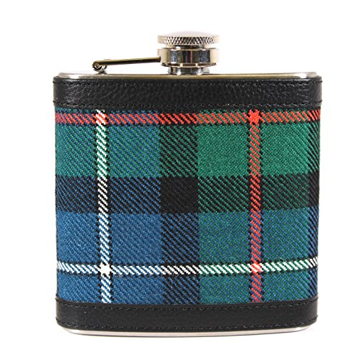 100% Scottish Tartan Wrapped 6oz Stainless Steel Captive Top Pocket Hip Flask - Murray Atholl Modern