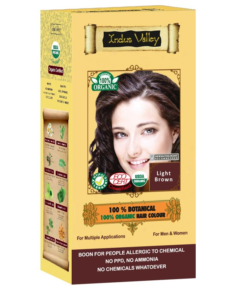 Indus Valley 100% Botanical Hair Color For Allergy Sufferers With 0% PPD, Ammonia, Hydrogen Peroxide, Barium With Great Herbal Aroma & 8 Herbs Ingredients Gives More Volume Hair Color In Just 45 Minutes (Upto 4 Applications Mahogany) Indus Cosmeceutica