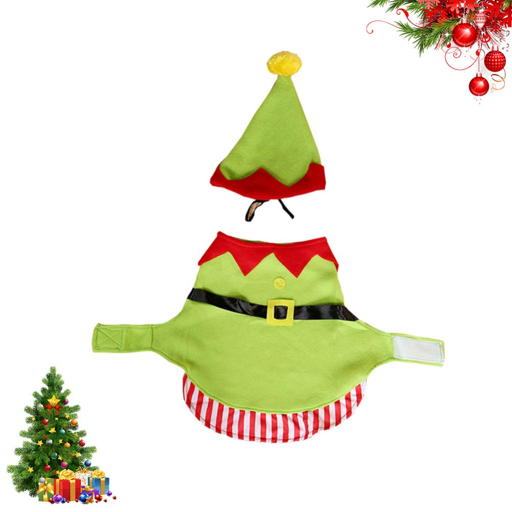 Amosfun 2pcs Pet Christmas Elf Costume with Hat Funny Dog Christmas Party Costume Cosplay Outfits Clothes Coats Apparel for Puppy Dog Cat