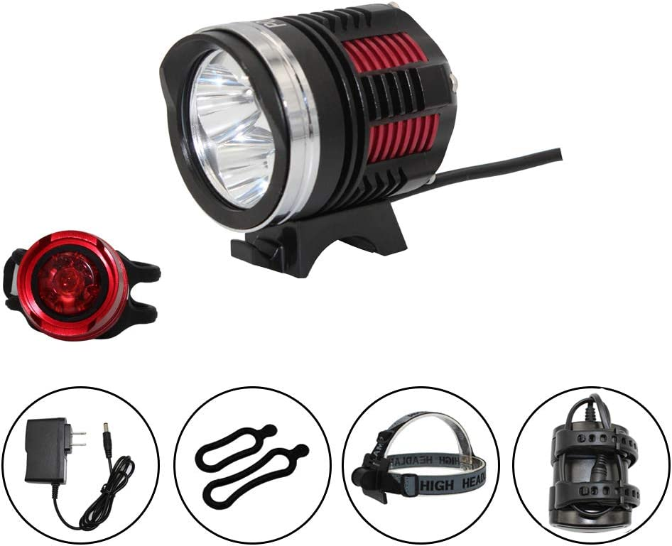 Whaitfire LED Bike Lights Front, USB Rechargeable Bike Light Set, Mountain Bicycle Headlight, IP65 Waterproof Bicycle Light 4400 mAh Battery Pack Included
