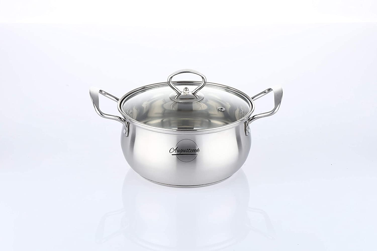 Augustcook Saucepan with Lid,Sauce Pan Pot,Stainless Steel Milk Pan,Nonstick Safe Soup Pot,Gourmet Covered Straining Pot with Glass Lid Cookware 16 cm,1.2L Silver