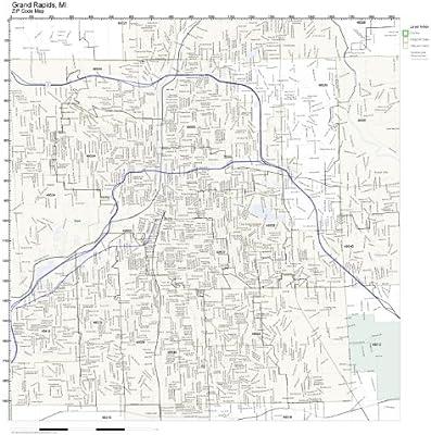 Amazon Com Zip Code Wall Map Of Grand Rapids Mi Zip Code Map