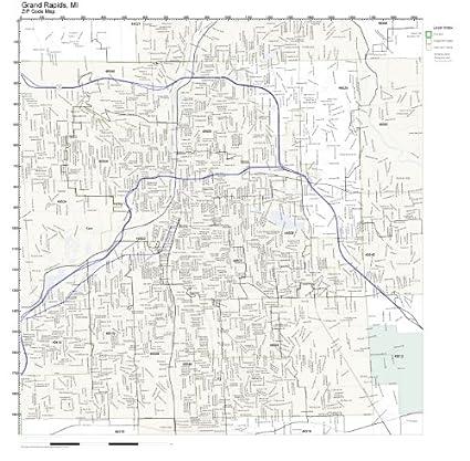 Amazon Com Zip Code Wall Map Of Grand Rapids Mi Zip Code Map Not