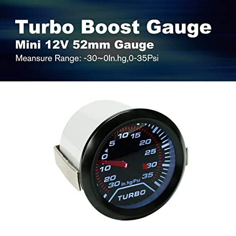 LasVogos CNSPEED 12V Coche LED Turbo Boost Gauge Medidor Probador 52mm Smoke Lens Universal (Color