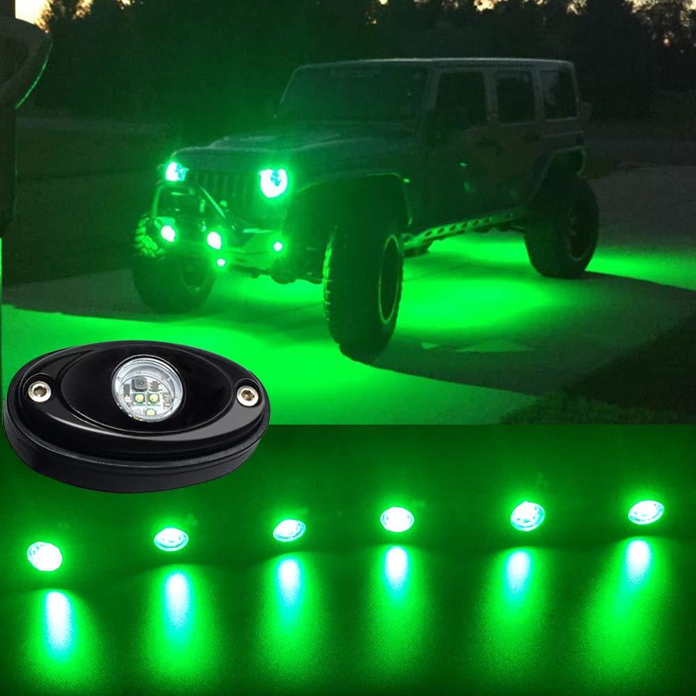4 Pods LED Rock Lights Green Waterproof LED light kit underglow LED ground lighting for Truck off road Raptor Baja Car UTV SUV ATV Boat trailers tow vehicles lamp