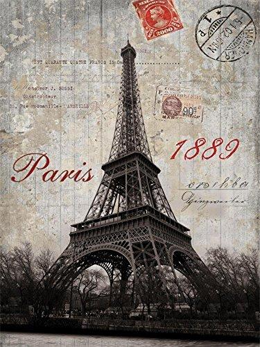 Laeacco 5x6.5ft Vinyl Photography Background Retro Postmark Stamp Paris Eiffel Tower 1889 Nostalgic Memory Backdrops Video Photo Studio Props