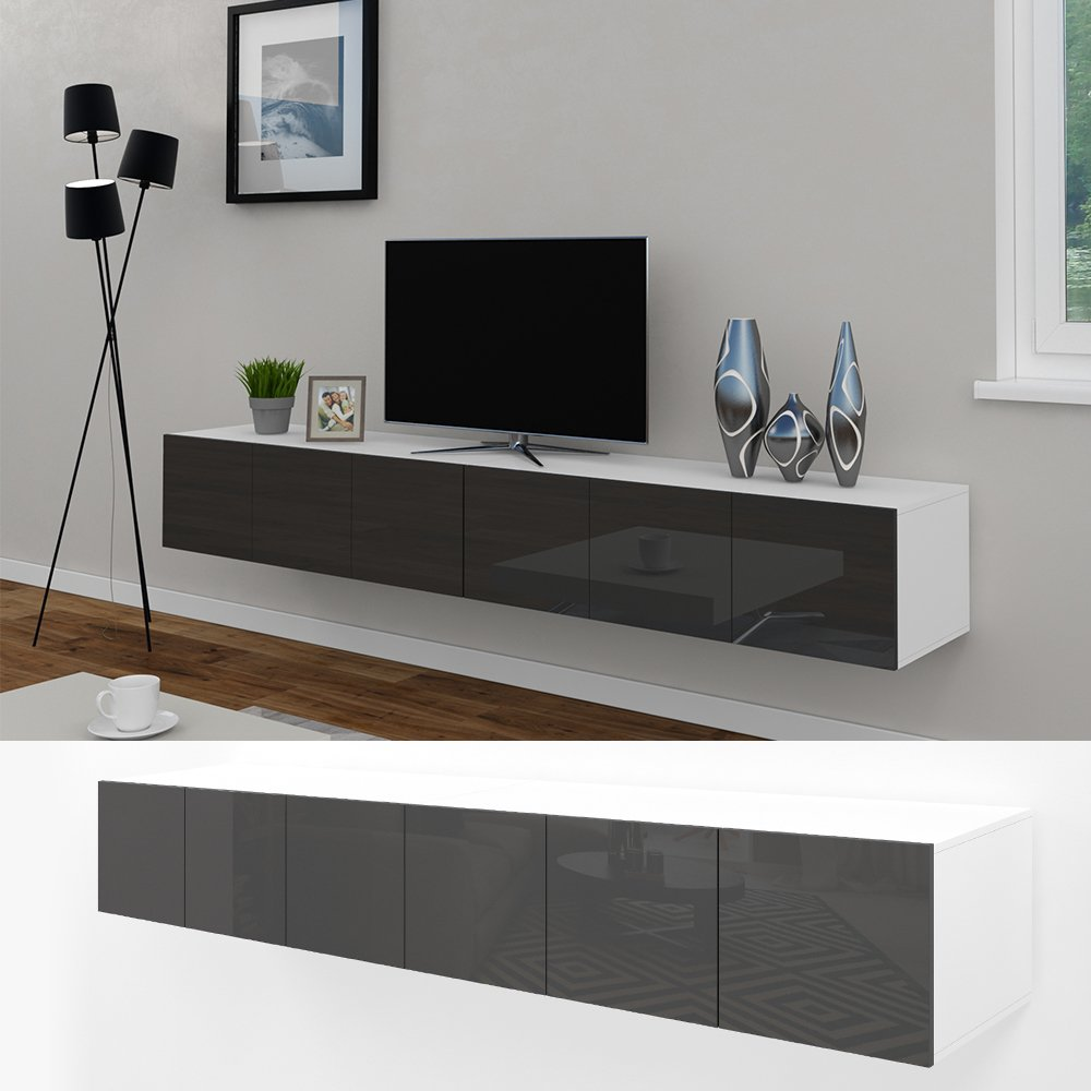tv lowboard h ngend grau. Black Bedroom Furniture Sets. Home Design Ideas