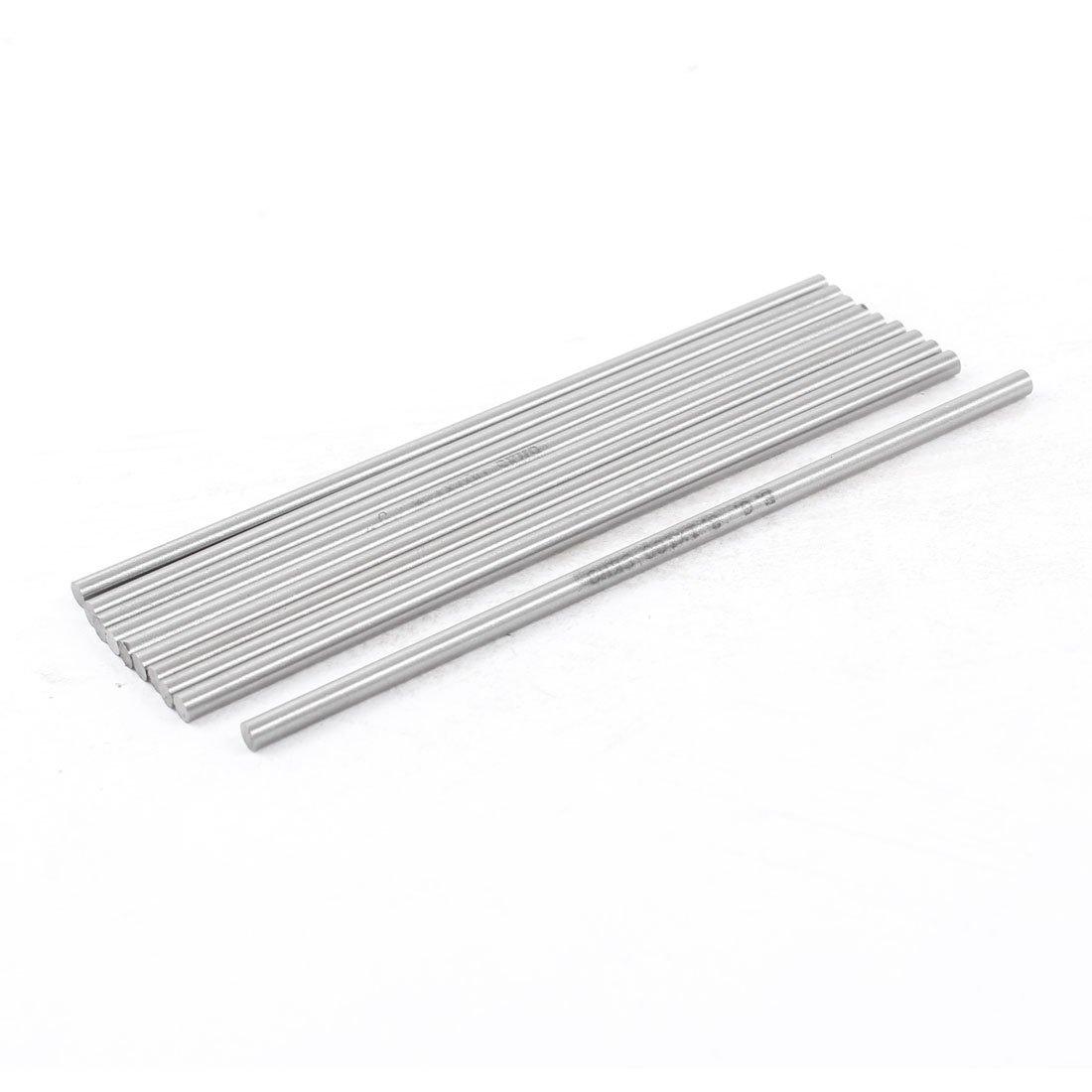 sourcingmap® 10 Piezas De 3.1 mm x 100 mm De Acero De Alta Velocidad Torno De Torneado Redondo Barras De Plata Gris