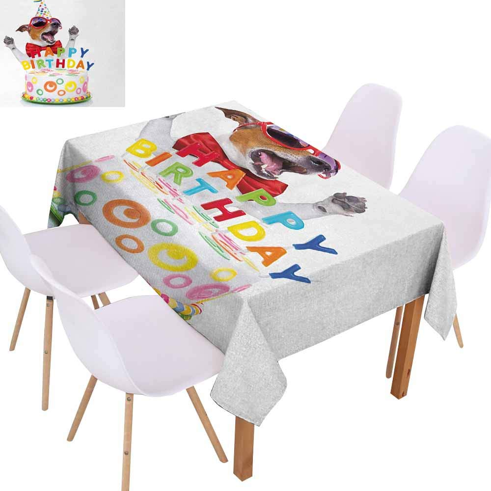 UHOO2018 Kids Birthday,Tablecloths for Kitchen Room,Party Dog at Suprise Birthday Party with Cone Hat and Glasses Photograph Fun,Great for Buffet Table,Multicolor,50''x72''