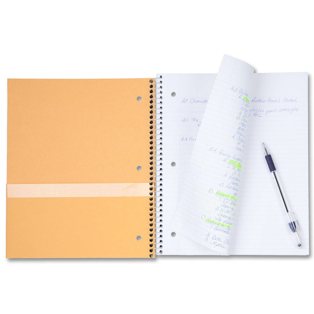 Five Star Spiral Notebook 10-1//2 x 8 100 Sheets 1 Subject Lime 72122 Wide Ruled Paper