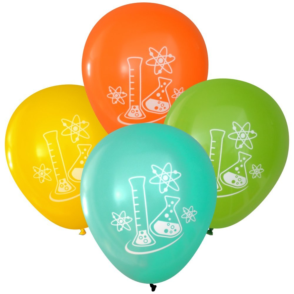 Mad Science Party Balloons - Flasks and Atoms (16 pcs, Deluxe Two-Sided) (Orange, Yellow, Aqua, Lime)