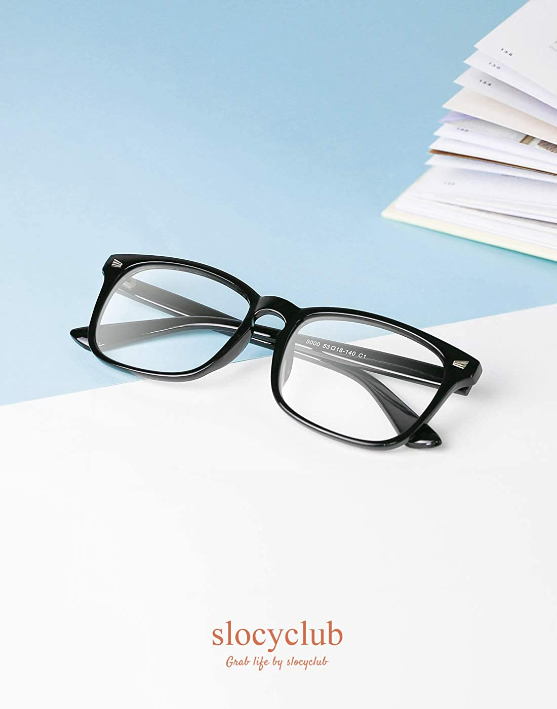 ed08934fd0e Amazon.com  Slocyclub Blue light Blocking Glasses Vintage Nerd Square  Keyhole Design Eyeglasses Frame for Women Men  Clothing