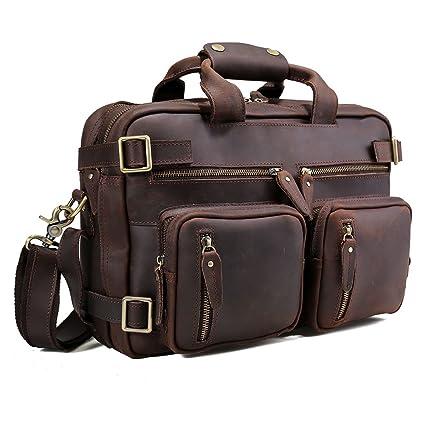 825e1513de3 Amazon.com  Tiding Men s Genuine Leather Convertible Backpack 14 Inch  Expandable Shoulder Bag Computer Briefcase  Computers   Accessories