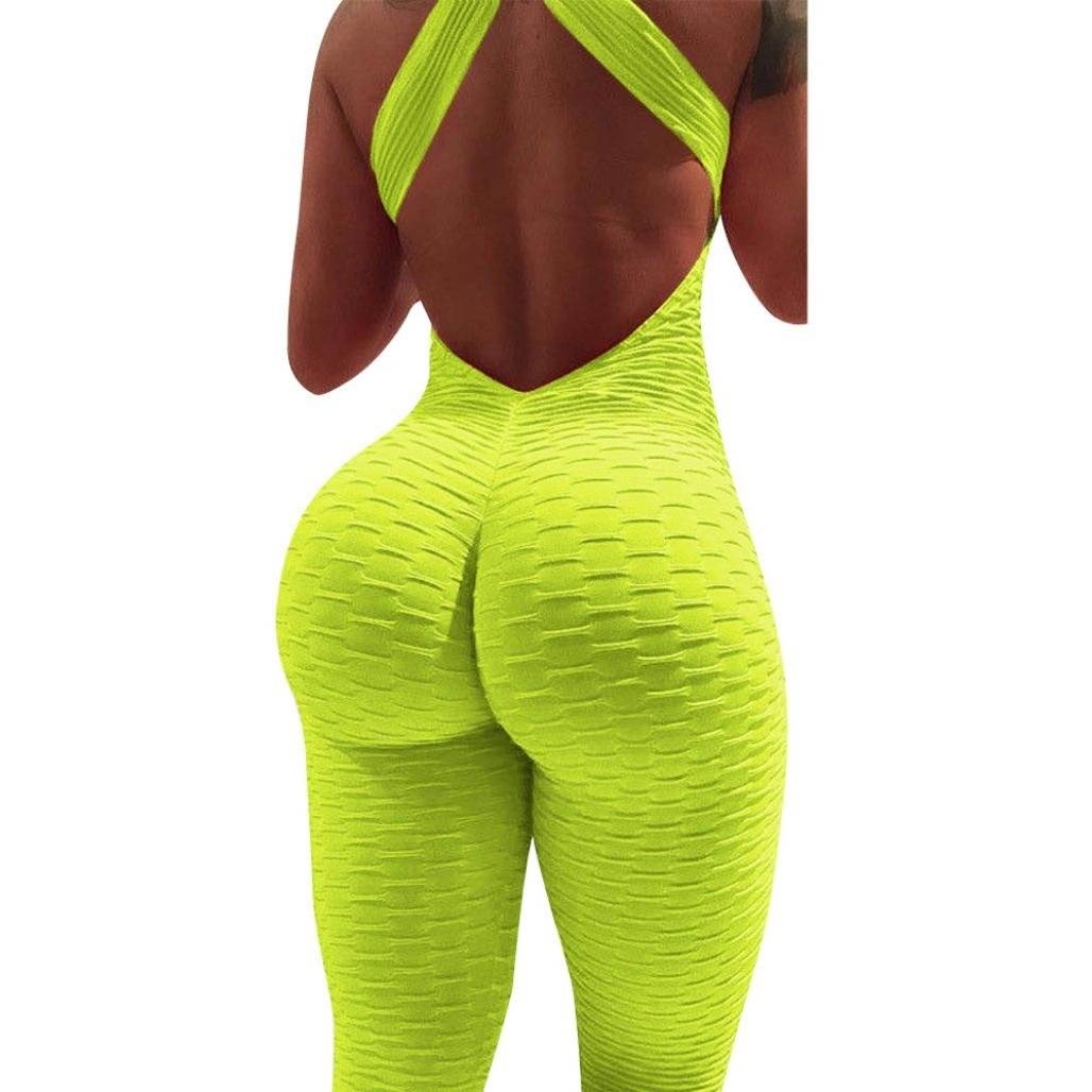 Femme Combinaison Été Romper Jumpsuit Bodysuit Chic Mode Playsuit Cou Suspend Dos Nu Yoga Sport sans Manches Slim Boho Plage Décontracté Longue Gilet Combishort