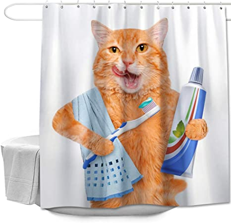 Cute Cat in Flowers Shower Curtain Bath Accessory Sets Polyester Fabric /& Hooks