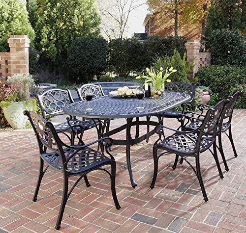 Aluminum 7 Piece Patio - Biscayne Black 7-Piece Outdoor Dining Set by Home Styles