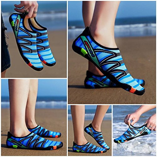 Bigood Unisex Men Women Lovers Water Swim Shoes Quick Dry Aqua Socks Blue qlaKkQLfgW