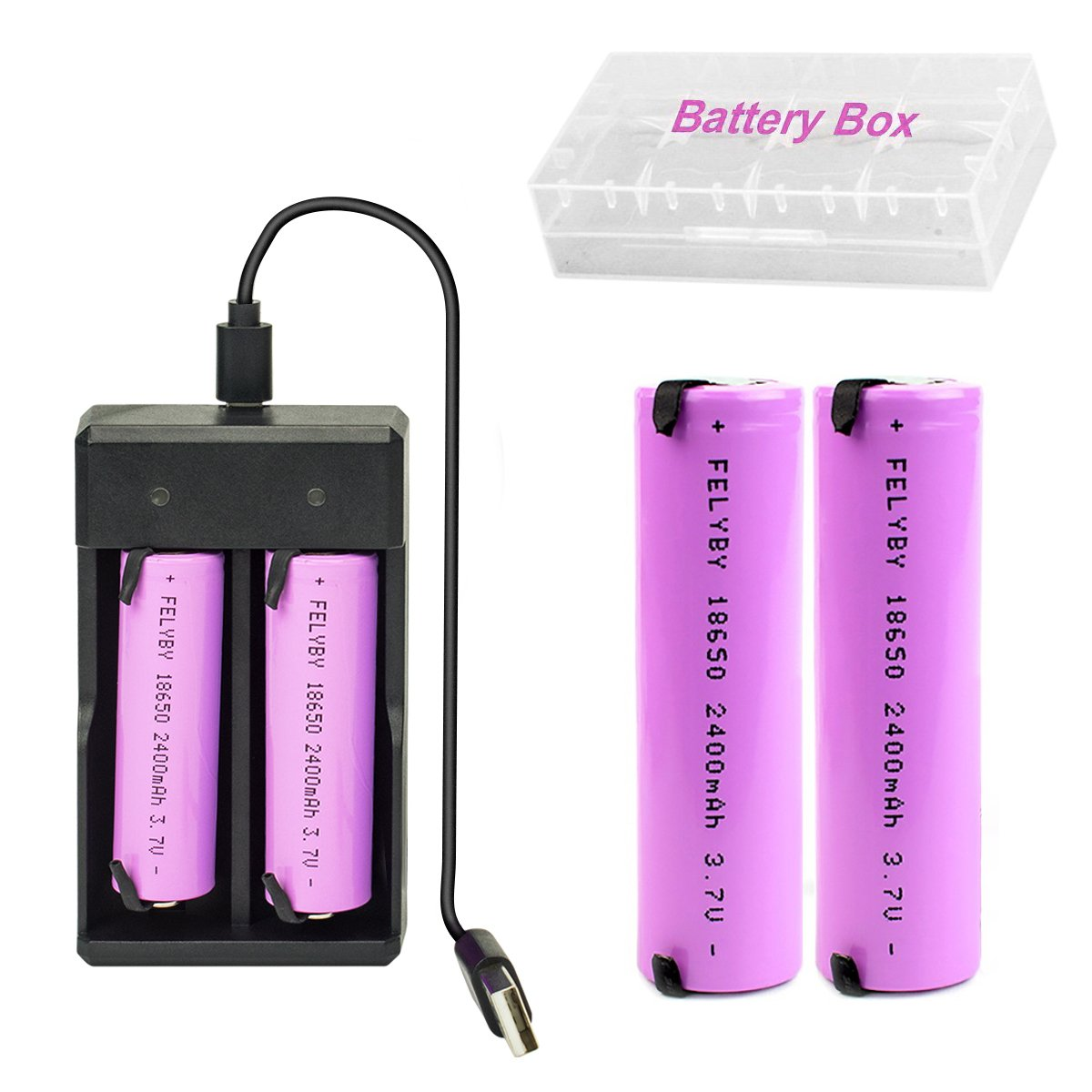 18650 3.7V Lithium ion Rechargeable Batteries Button Top Pink 2 Packs and Smart Wired 18650 Li-ion Battery Charger (2pack PI-Charger)