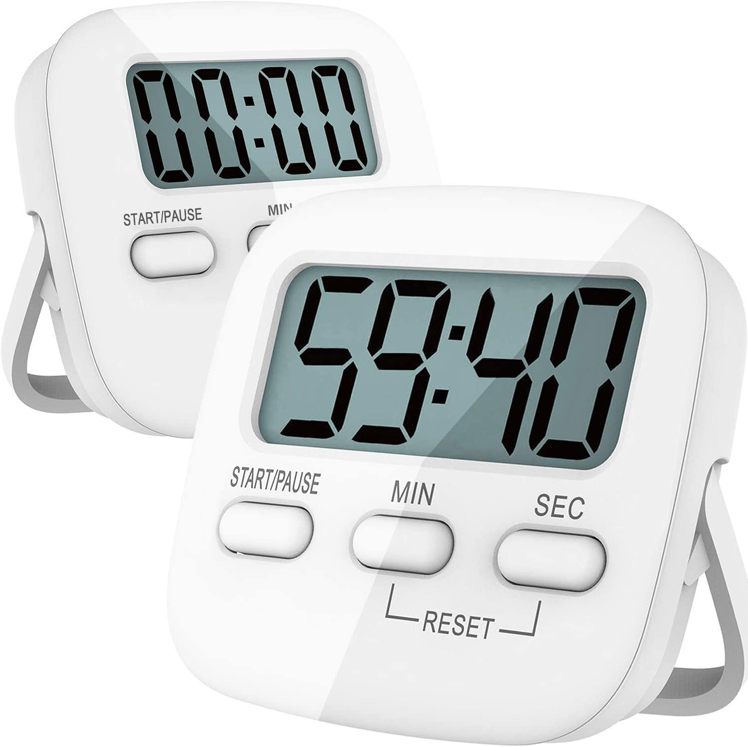 Kitchen Timer, 2 Pack Digital Kitchen Timers [ 2020 Version ] Magnetic  Countdown Timer with Loud Alarm, Big Digits, Back Stand for Cooking,  Classroom, ...