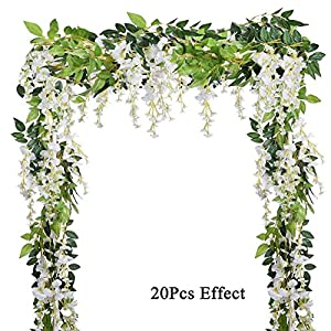 Luxuglow 4Pcs 6.6Feet/2m Artificial Flowers Silk Garland Vine Rattan Silk Hanging White Flower Ivy Leaf for Home Garden Outdoor Ceremony Wedding Arch Floral Decor 73