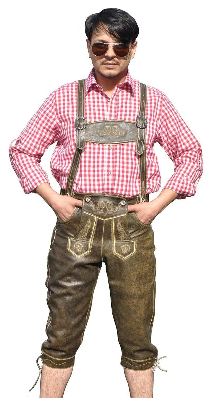Trachten Lederhose Kniebundhose Braun Antik Glattleder H-Träger Oktoberfest AT-790