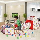MAIKEHIGH interior / exterior túnel del juego y la tienda del juego de Cubby de Tubo Tipi 3 en 1 zona de juegos infantil…