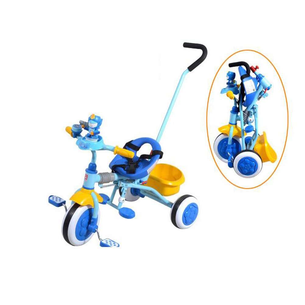 XQ 子供の三輪車の折りたたみ手は、自転車の光をプッシュパターを持つ折り畳み式バスケットと赤ちゃんの三輪車 子ども用自転車 ( 色 : 青 ) B07CKNZ3NK青