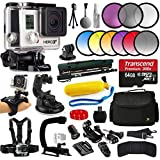 GoPro HERO3+ Black Edition Camera Kit + SSE Accessory Kit which Includes: 64GB Micro SD Card + Adapter, Card Reader, Replacement Battery, Charger, Case, Gripster Tripod & Monopod for GoPro Hero3+ camera