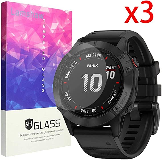 for Garmin Fenix 6 Pro Screen Protector, Blueshaw 9H Tempered Glass Screen Protector for Garmin Fenix 6 Pro Smartwatch - 2019 (3 Pack)