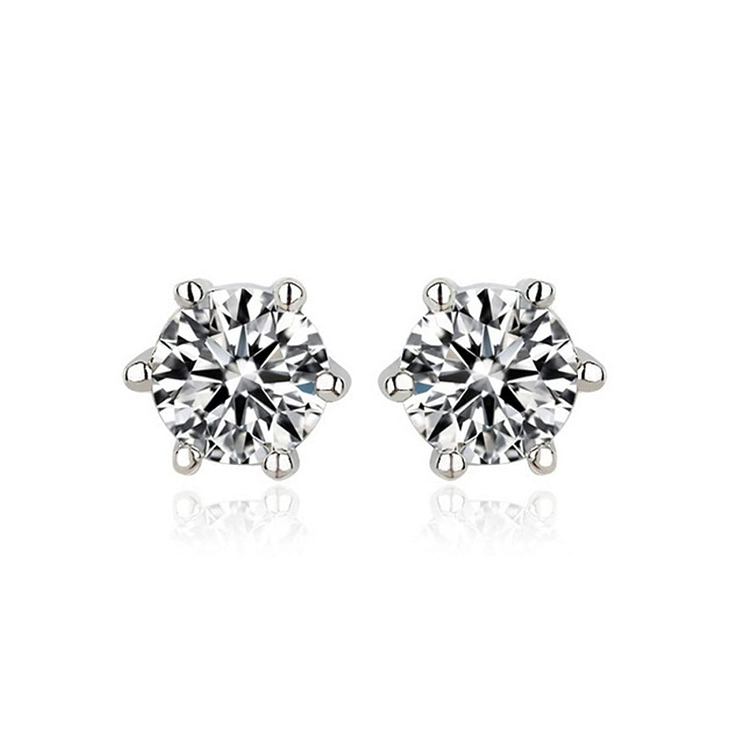 CS-DB Silver Sparkling Solitaire Clear CZ 6 Prongs Round Stud Charm Earrings