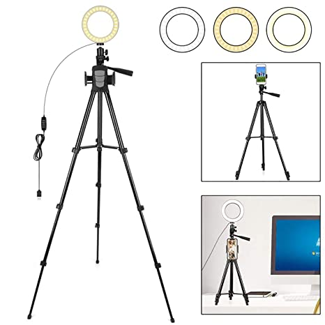 ad2e137ce7c0a2 FCNEHLM Ring Light with Stand and Phone Holder - 6.3 quot  LED Camera Light  with Tripod