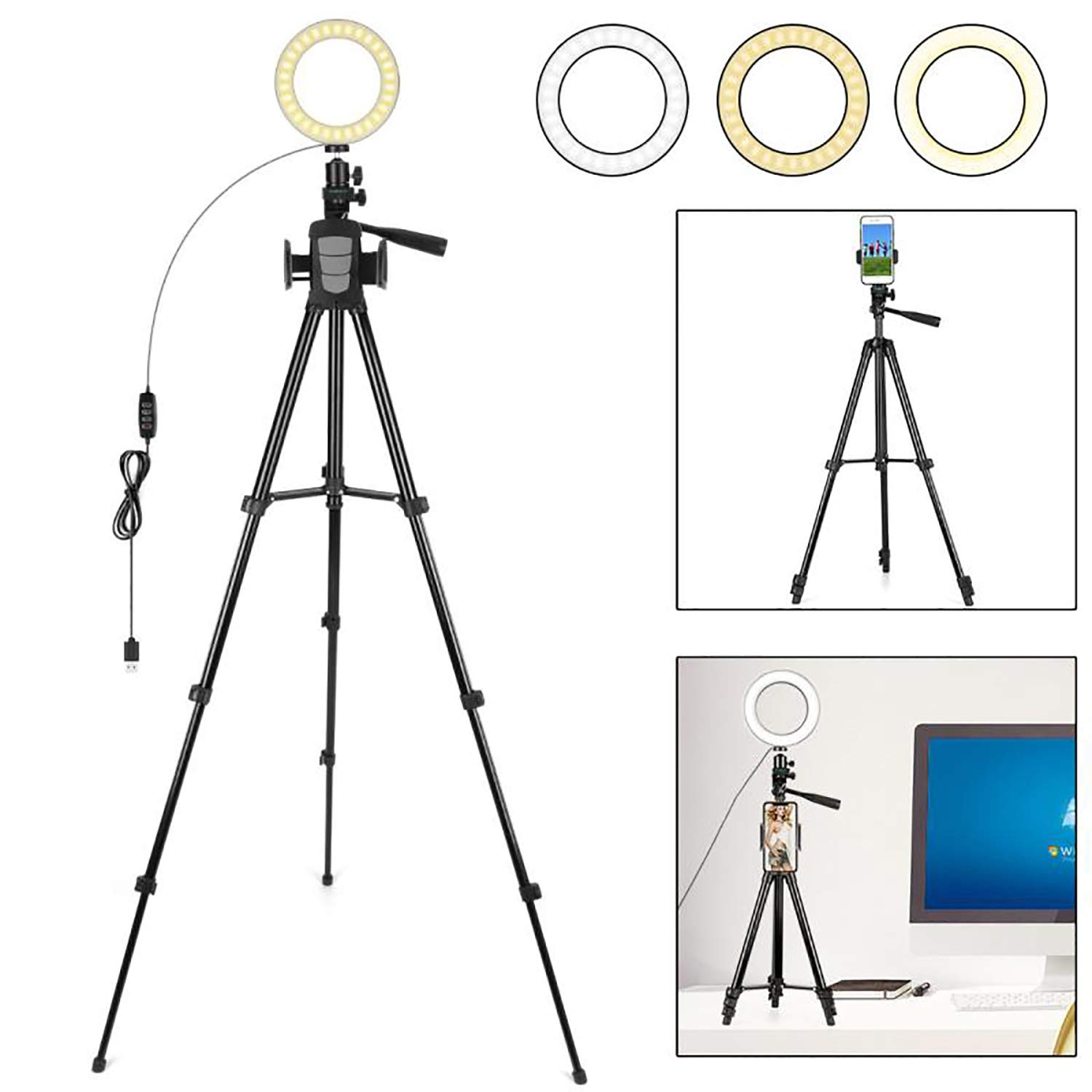 FCNEHLM Ring Light with Stand and Phone Holder - 6.3'' LED Camera Light with Tripod for YouTube Video and Makeup with 3 Light Modes & 10 Brightness Level