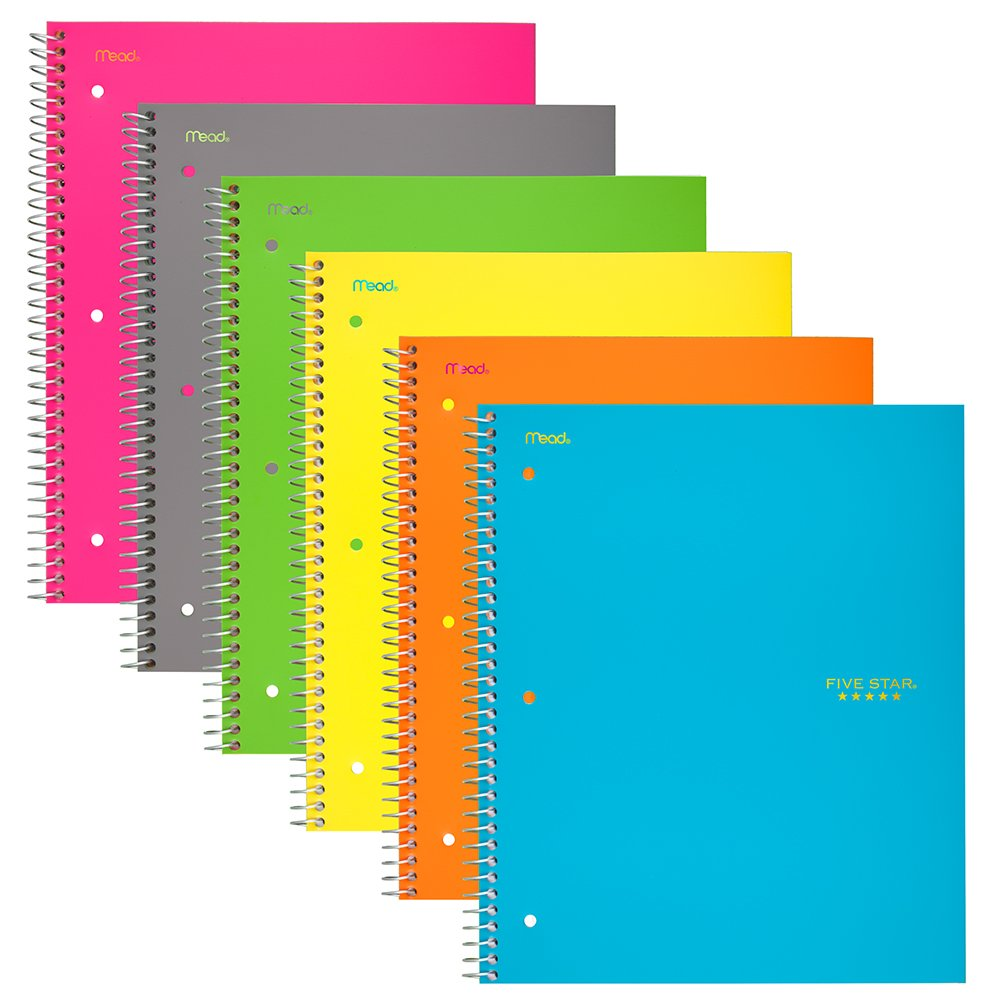 Five Star Spiral Notebooks, 1 Subject, College Ruled Paper, 100 Sheets, 11'' x 8-1/2'', Assorted Colors, 6 Pack (38057)