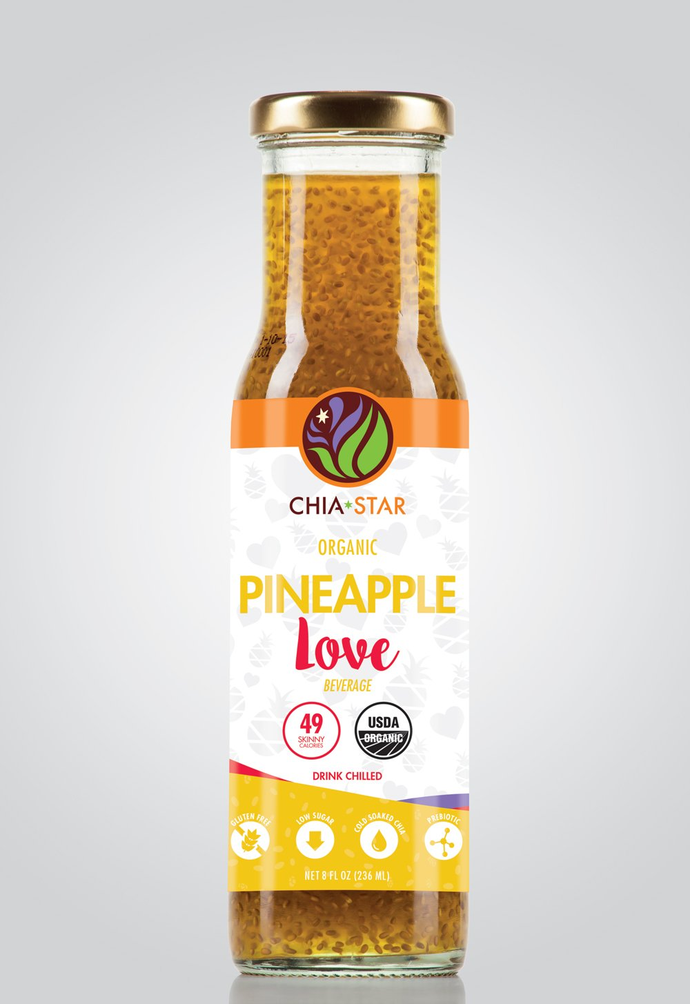 Chia Star Pineapple Honey Love three 8 oz bottles