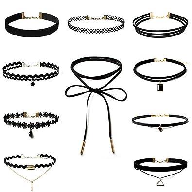 29162590ba866 ThyWay Women Velvet Choker Necklace for Women Girls Lace Choker Tattoo  Necklace Clavicular Chain 8-10PCS