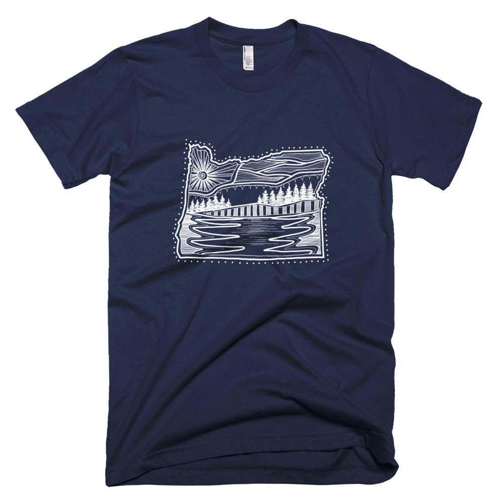 Oregon Minimalist Scandinavian Art T-Shirt Navy
