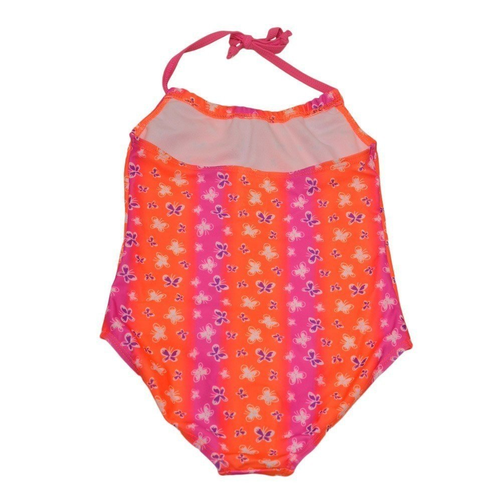 Starfish Big Girls Orange Pink Butterfly Print Trendy One Piece Swimsuit 4-6X