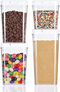 mDesign Airtight Food Storage Container Combo Pack with Lid for Kitchen, Pantry, or Cabinet - Cereal, Snacks, Pasta, Candy, Rice, Beans, Baking - BPA Free, Set of 4 - Clear