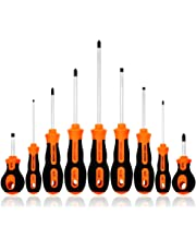 Kingsdun Phillips and Flathead Screwdriver Set 9pcs Long and Stubby Screwdriver Set with Magnetic Tips and Comfortable Non-skid Handle Heavy Duty Hand Tool Kit for RepairingCrafting