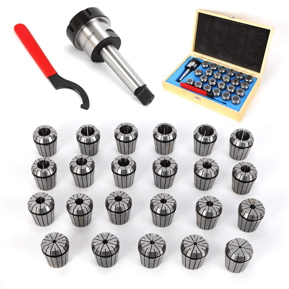 SHIOUCY ER40 Spannzangen Set 23-tlg Satz 4-26 mm inkl Spannzangenfutter MK3 mit M12 Anzugsgewinde Aufbewahrungsbox