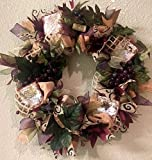 Tuscan Wine Burlap Wreath with Sparkle. Super Cute & Whimsical. Great Tuscan Wine Decoration for your Door or wall. Vino Wreath, Wine Cork Wreath